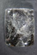 Quartz cabochon with Jamesonite inclusions, Brazil.  46.25 carats.